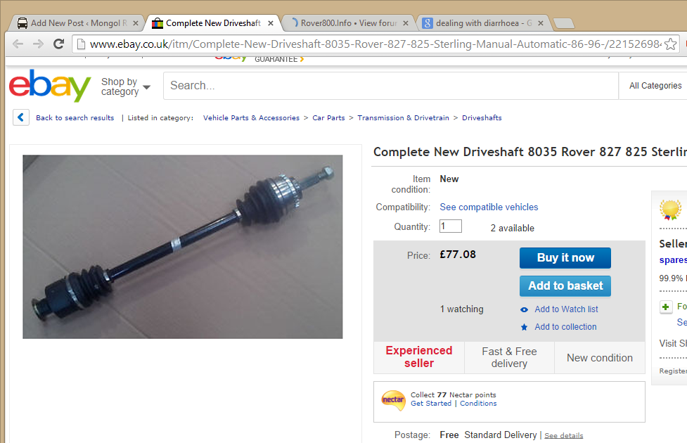 buying-new-rover-827-driveshaft-ebay